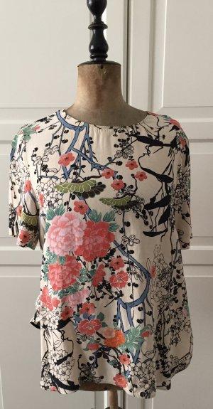 Blusen T-shirt mit buntem asiatischen Textildruck