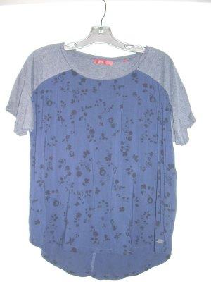 Blusen T-Shirt von edc by Esprit Gr. XL 42 blau mit grau und schwarzen Blumen
