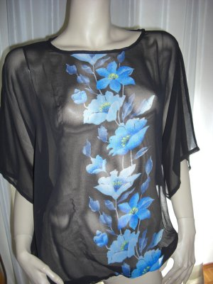 Blusen Tunika Exclusives Design  BLAU / SCHWARZ Chiffon 40/42