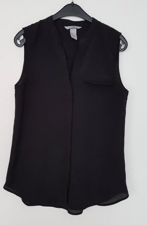 H&M Mouwloze blouse zwart