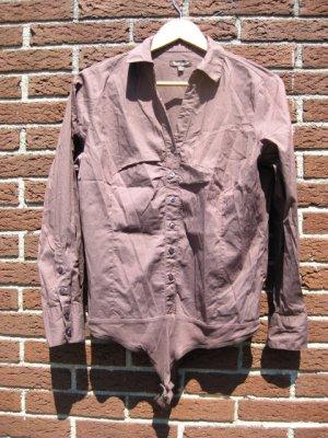 Chemisier body marron clair-bronze coton