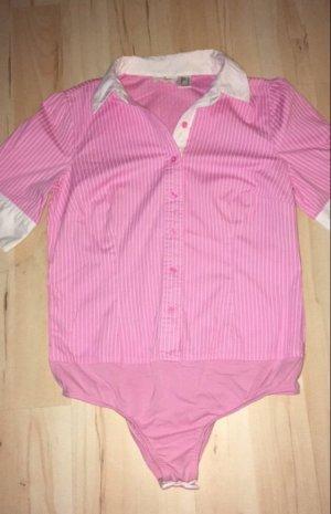 Blusenbody Gr 42, Nadelstreifen, weiß-rosa,