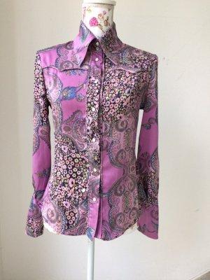 Amor & Psyche Shirt Blouse brown violet-light blue