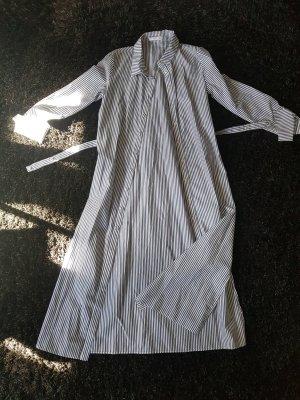 Mango Shirtwaist dress white-blue cotton