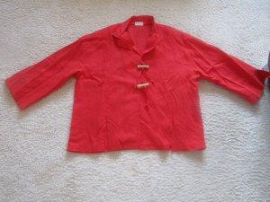 Blousejack rood-baksteenrood Linnen