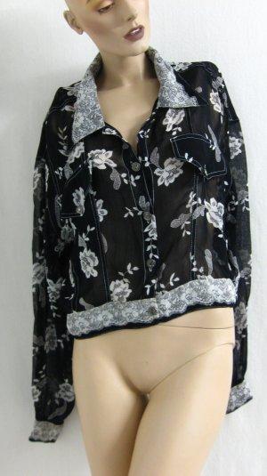 Veste chemisier noir-blanc cassé