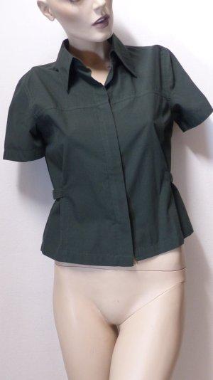 Chaqueta tipo blusa verde oscuro tejido mezclado
