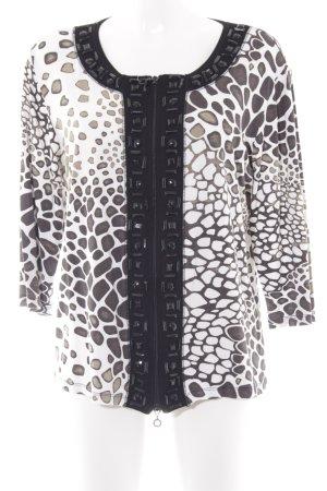 Blusenjacke schwarz-weiß abstraktes Muster Elegant