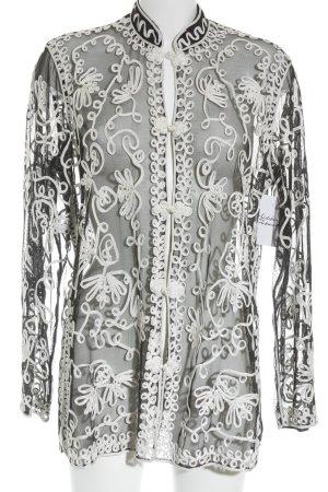 Blusenjacke schwarz-weiß florales Muster Casual-Look