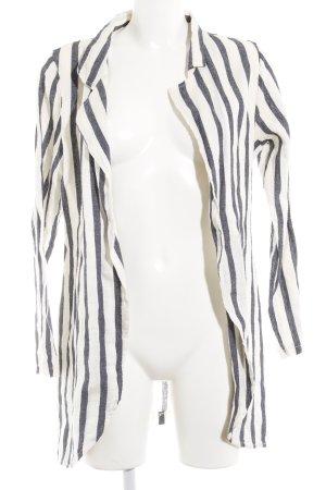 Veste chemisier blanc cassé-bleu foncé motif rayé style décontracté