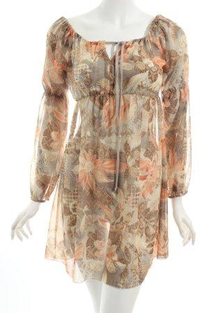 Blusenkleid hellbraun-nude florales Muster Casual-Look