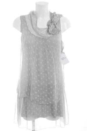 Blusenkleid hellgrau-weiß Punktemuster Transparenz-Optik