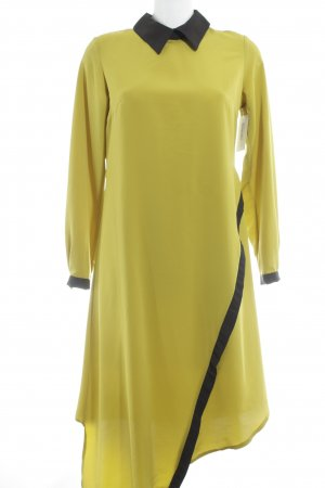 Vestido camisero amarillo limón-negro estilo clásico