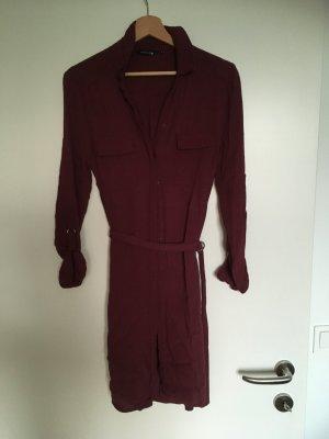 Blusenkleid mit Gürtel in dunkelrot