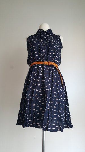 Shirt Dress dark blue-white polyester