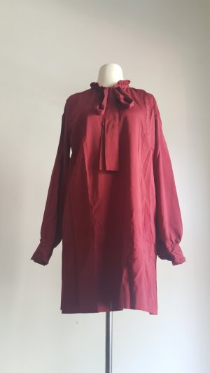 Blouse Dress dark red polyester