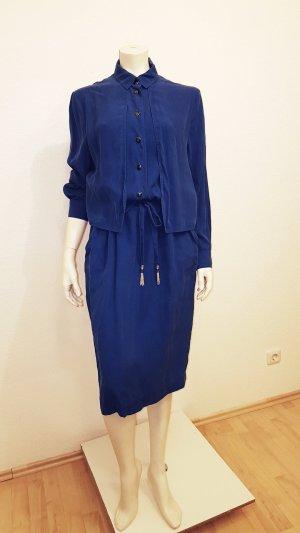 blusenkleid royalblau gr. 40 echt Seide