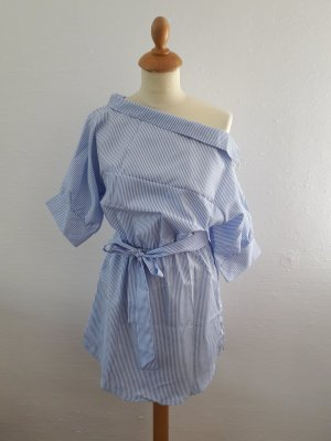 Blusenkleid S Neu gestreift blau weiß Longbluse Tunika Offshoulder