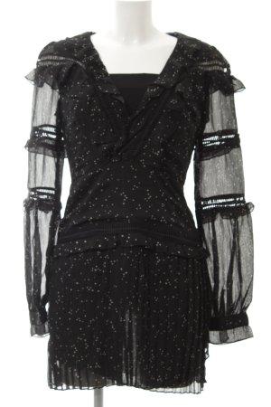 Blusenkleid schwarz-creme Lochstrickmuster Casual-Look