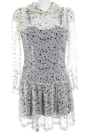 Robe chemisier noir-crème Motif d'étoiles style de lingerie