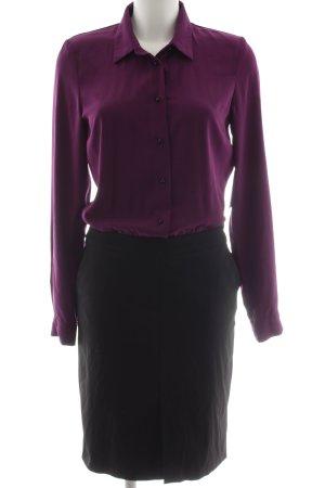 Blusenkleid schwarz-violett Business-Look