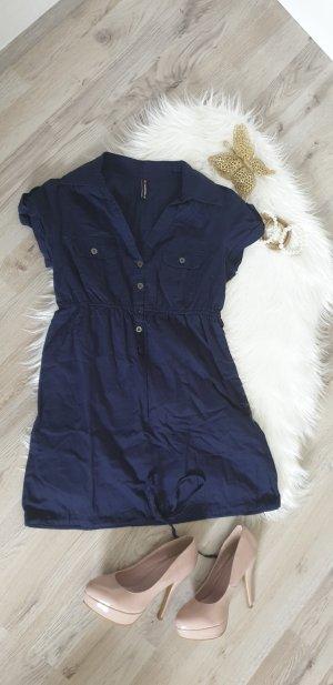 Fishbone Blouse Dress dark blue