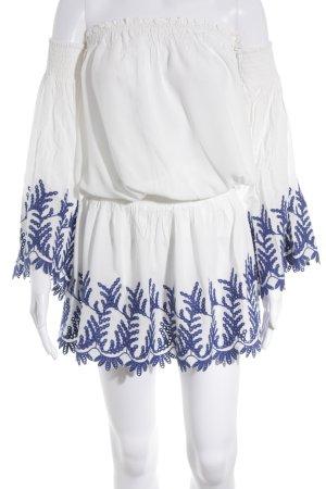 Ramy Brook Vestido camisero blanco-azul look Boho
