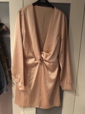 Blusenkleid Zara beige Creme rose nude Knoten Satin Seide