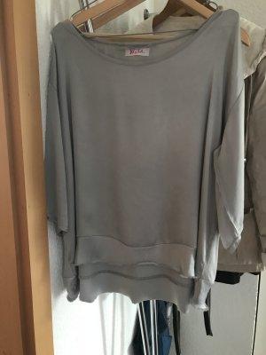 Oversized Shirt silver-colored-light grey silk
