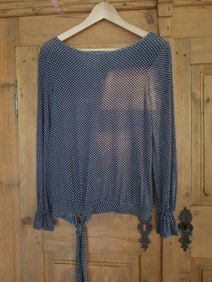 Blusenshirt blau/weiß/messing