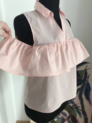 Amisu Top cut-out bianco sporco-albicocca Cotone
