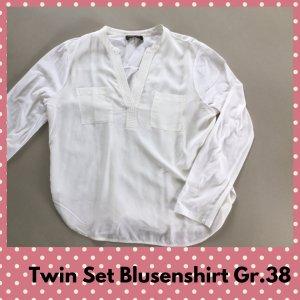 Twin set Top épaules dénudées beige clair-blanc cassé coton