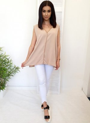 Blouse Top nude-oatmeal