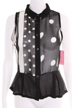 Blusa nero-bianco motivo a pallini stile casual
