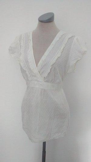 Blusentop Top Oberteil Bluse Baumwolle Gr. UK 12 40 weiß