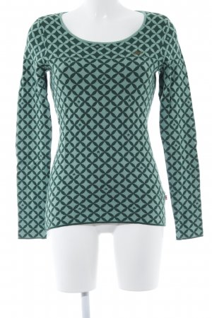 Blutgeschwister Rundhalspullover hellgrün-grün abstraktes Muster Casual-Look