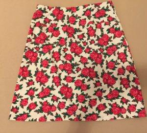Blutsgeschwister Pencil Skirt white-brick red cotton