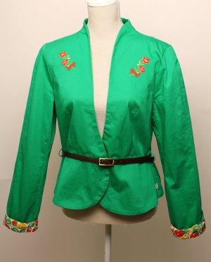 * Blutsgeschwister * Blazer Jacke XL 40 grün rot gelb braun geblümt mit Gürtel sommer romantik blumen