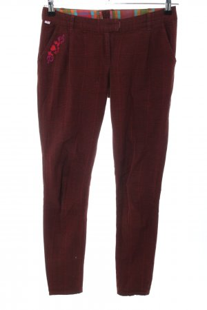 Blutsgeschwister Chinohose rot Karomuster Casual-Look