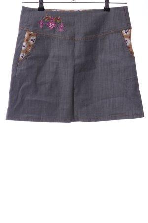 Blutsgeschwister Denim Skirt light grey themed print casual look