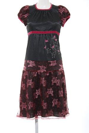 Blutsgeschwister Jersey Dress black-red flower pattern extravagant style