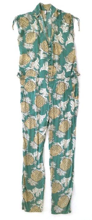 * Blutsgeschwister * Jumpsuit Overall M 38 40 grün gelb geblümt tropical floral Ananas