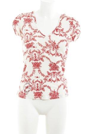 Blutsgeschwister Blusa con capucha blanco puro-rojo oscuro estampado floral
