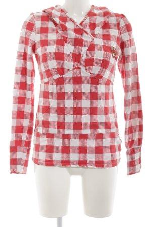 Blutsgeschwister Kapuzensweatshirt rot-weiß Karomuster Casual-Look