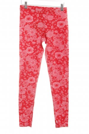 Blutsgeschwister Leggings rot-rosa Blumenmuster Casual-Look
