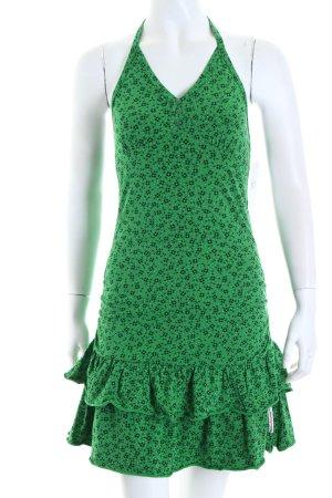 Blutsgeschwister Neckholderkleid grün florales Muster Casual-Look