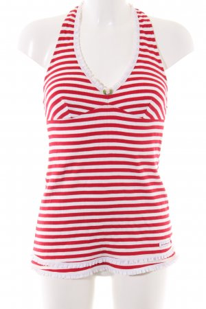 Blutsgeschwister Halter Top red-white striped pattern casual look