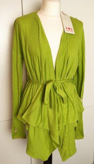 * BLUTSGESCHWISTER * NEU ! langer CARDIGAN Bindegurt Lochmuster Baumwolle limetten grün Gr L / 40 42