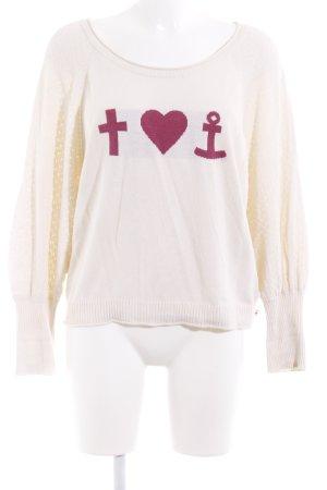Blutsgeschwister Oversized Pullover wollweiß-dunkelrot Motivdruck Casual-Look