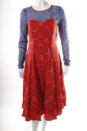 Blutsgeschwister Petticoatkleid rot-blau Allover-Druck extravaganter Stil